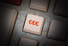 white button on a dirty old panel - stock photo