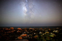 6K Motion Control Dolly Astro Time Lapse of Milky Way Seascape -Full Frame- - stock footage