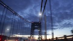 Sunrise Crossing George Washington Bridge in New York Stock Video Stock Footage