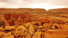 4K Chaco Culture 17 Pueblo Bonito Native American Ruins Raining Stock Footage
