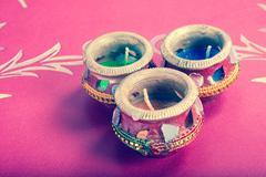 Stock Photo of indian decorative candle pot - retro