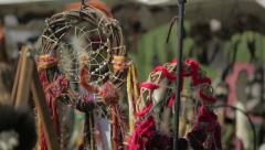 Dream catchers Hanging At Market Stock Footage