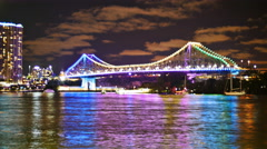 Neon light display on Brisbane bridge TL PAL 4K Stock Footage