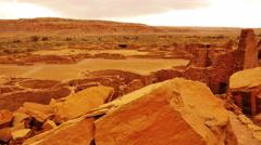 4K Chaco Culture 18 Pueblo Bonito Native American Ruins Raining Stock Footage