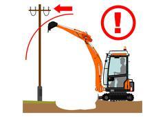 the excavator dangers - stock illustration