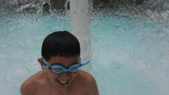Kid Playing in Water at Swimming Pool Recreation in Summer New York Stock Video - stock footage