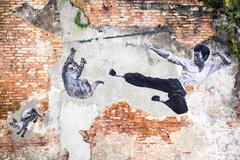 Famous Street Art Mural in Georgetown, Penang, Malaysia Stock Photos