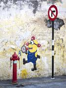 Street Art Painting of Minion in Georgetown, Penang, Malaysia Stock Photos