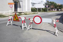 signs prohibiting passage - stock photo