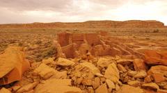 4K Chaco Culture 19 Pueblo Bonito Native American Ruins Raining Stock Footage