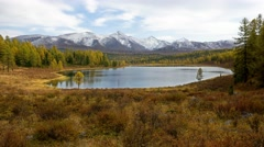4K Long Duration Scenery Foootage Mountain Lake Against Snowy Peaks in Autumn Stock Footage
