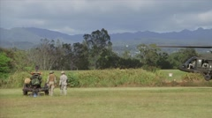 New Zealand 16 Field Regiment helicopters Train at Schofield Barracks Stock Footage