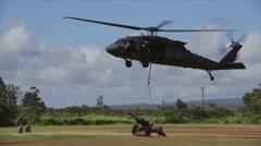 New Zealand 16 Field Regiment helicopters Train at Schofield Barracks - stock footage