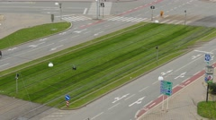 Aerial view on roundabout in Brno, Czech Republic Stock Footage