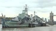 Stock Video Footage of HMS Belfast - Battleship
