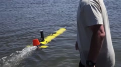 Navy's Autonomous Underwater Vehicle explores coastal waters Stock Footage