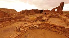 4K Chaco Culture 20 Pueblo Bonito Native American Ruins Raining Stock Footage