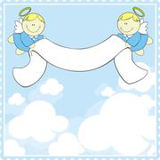 Baby angels with ribbon banner Stock Illustration