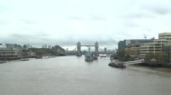 London - Tower Bridge and Battleship - Wideview - stock footage