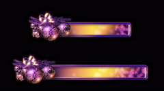 Christmas Banners/ Lower 3rds: Purple, gold. Loop. With luma matte/alpha channel Stock Footage