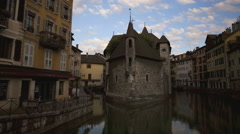 Time lapse of European buildings on a canal at suNot Released (NR)  ise Stock Footage