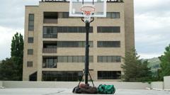 WS Clumsy man playing basketball / Salt Lake City, Utah, USA. Stock Footage