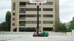 WS Clumsy man playing basketball / Salt Lake City, Utah, USA. - stock footage