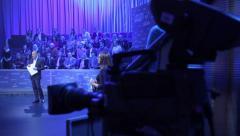 TV Studio to record a TV program. Media, journalism, press Stock Footage