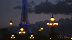 Paris cityscape at night Stock Footage