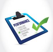 satisfactory performance clipboard checkmark - stock illustration