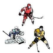 ice hockey players vector illustrations - stock illustration