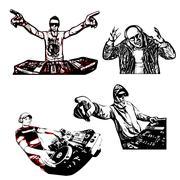 Four disc jockeys vector illustration Stock Illustration