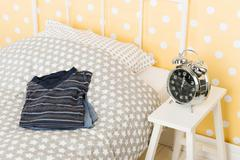 bedroom with pyjama's for man - stock photo