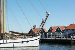 small harbor dutch island texel - stock photo