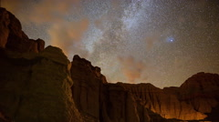 Motion Control Dolly Astro Time Lapse of Milky Way over Sandstone Stock Footage
