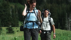 Two hikers walking into a swarm of bugs Stock Footage