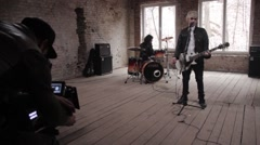 Shooting a music video.Behind the scenes filming process. Film production Stock Footage