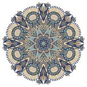 mandala, circle decorative spiritual indian symbol of lotus flow - stock illustration