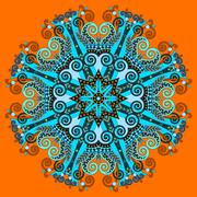 mandala, circle decorative spiritual indian symbol of lotus flow - stock illustration
