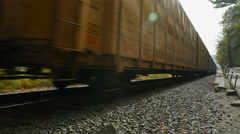 4K Freight Train with Autoracks Closeup 1 - stock footage