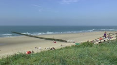 People on the beach in Domburg Zeeland Netherlands Stock Footage