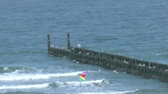 Kite flies on the beach of the Zeeland place of Domburg Stock Footage