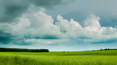 Green field with overcast clouds time lapse Stock Footage