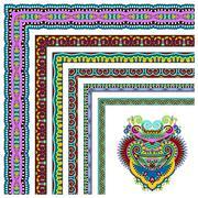floral vintage frame design. All components are easy editable - stock illustration