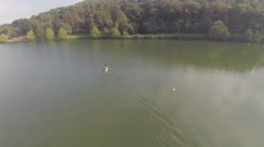 2,7k aerial view of Stand up in a lake 6 Stock Footage