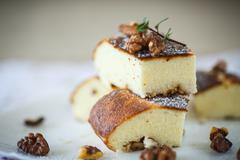 cottage cheese casserole with walnuts - stock photo