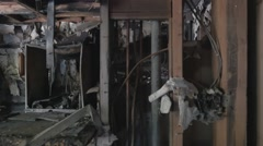 Burnt House Interior Stock Footage