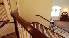 Empty wedding reception room and staircase Stock Footage