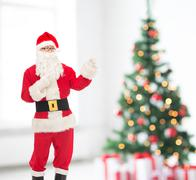 man in costume of santa claus - stock photo