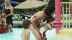 Family at a water park Stock Footage